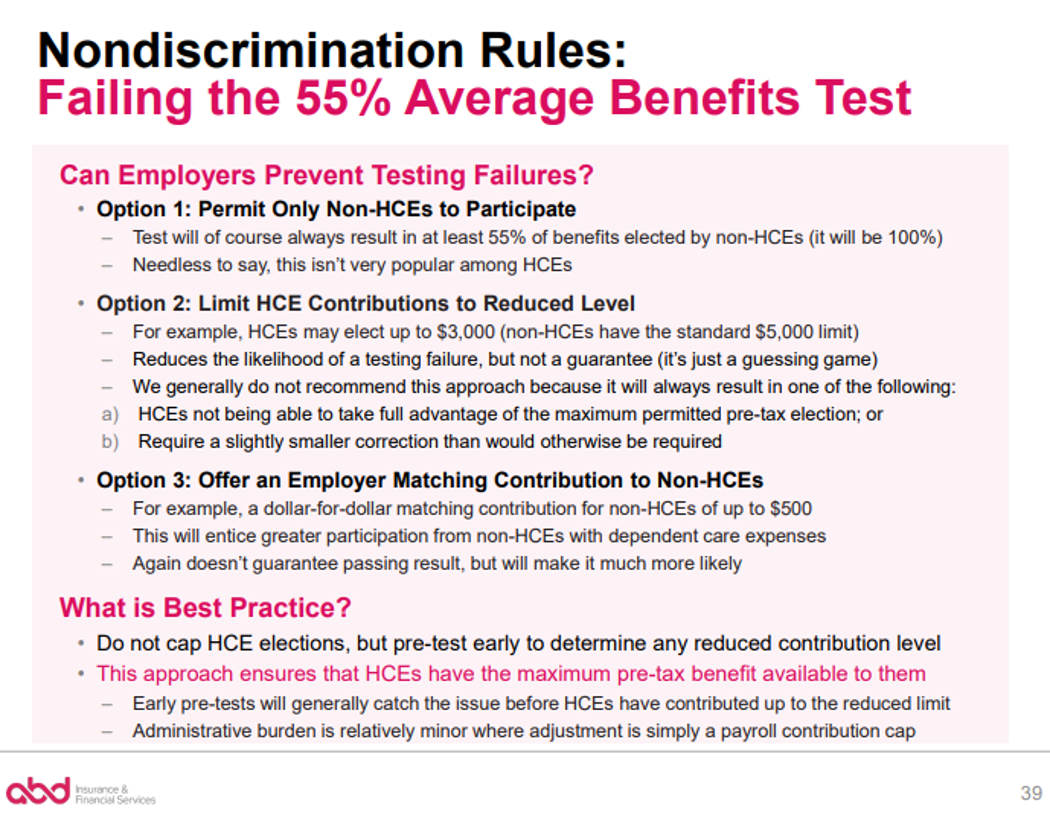 Nondiscrimination Rules: Failing the 55% Average Benefits Test