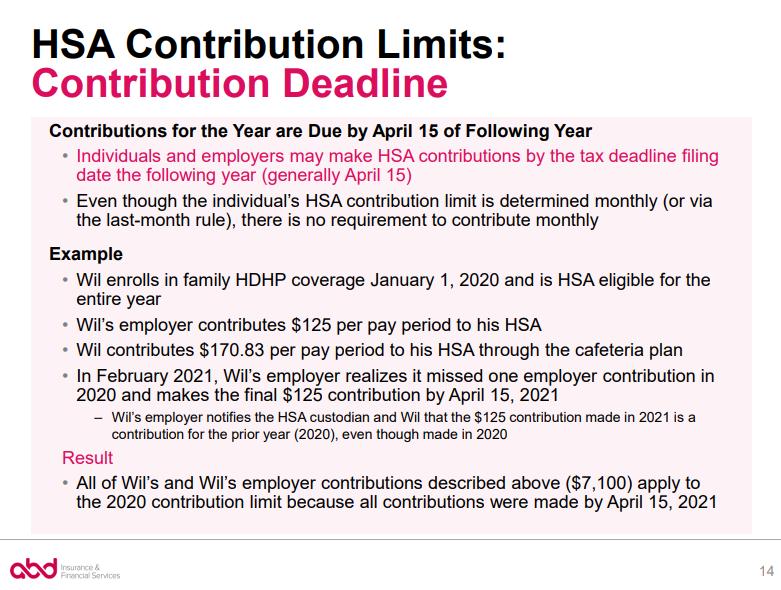 HSA Contribution Deadline